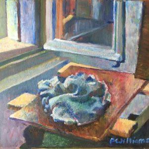 Oily rag in French studio window