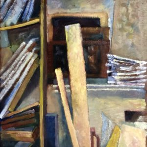Studio with canvases and wood
